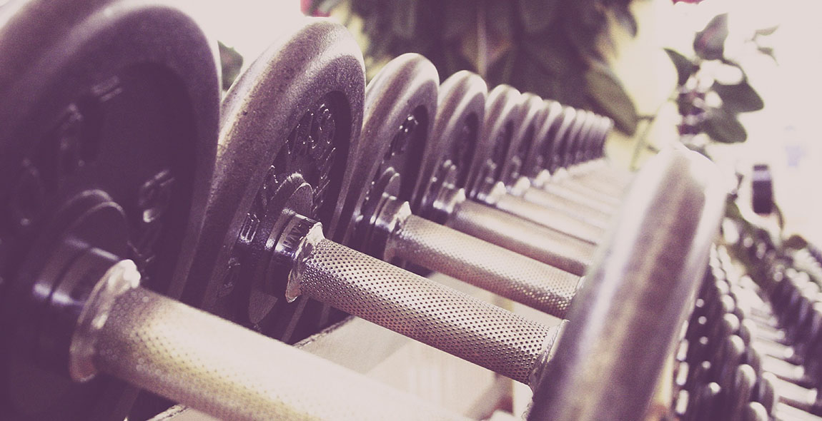 fitness studio gym dumbbells