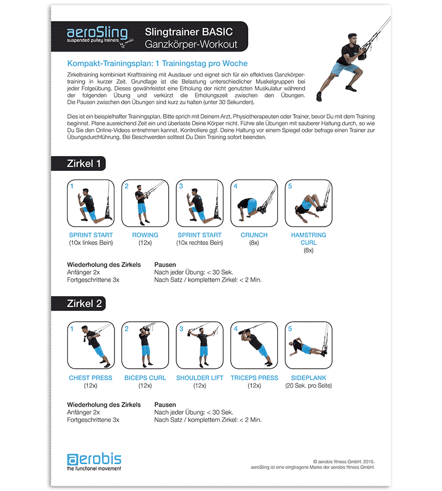 aeroSling Workout - Kompakt-Trainingsplan